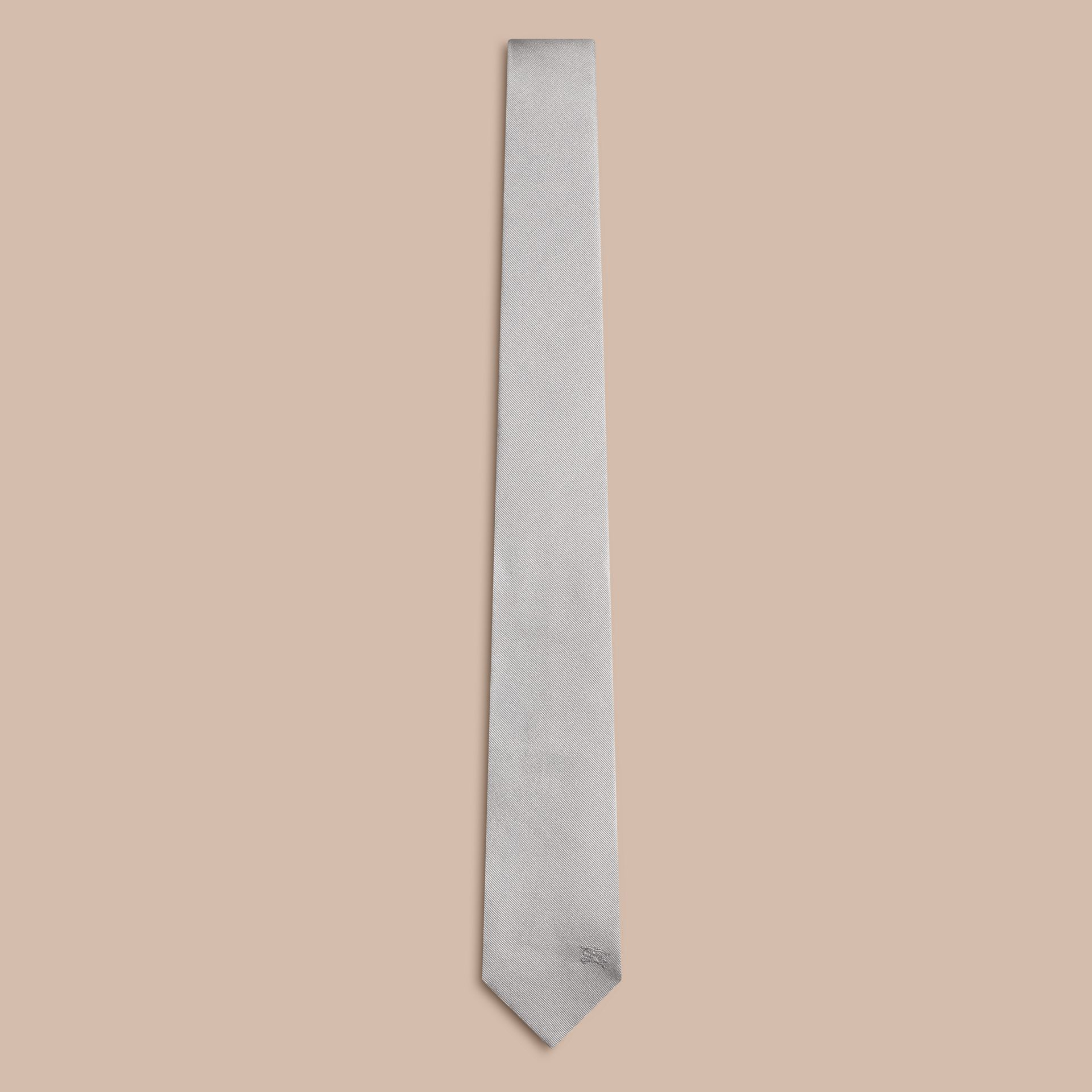 Pale grey Modern Cut Silk Tie - gallery image 1