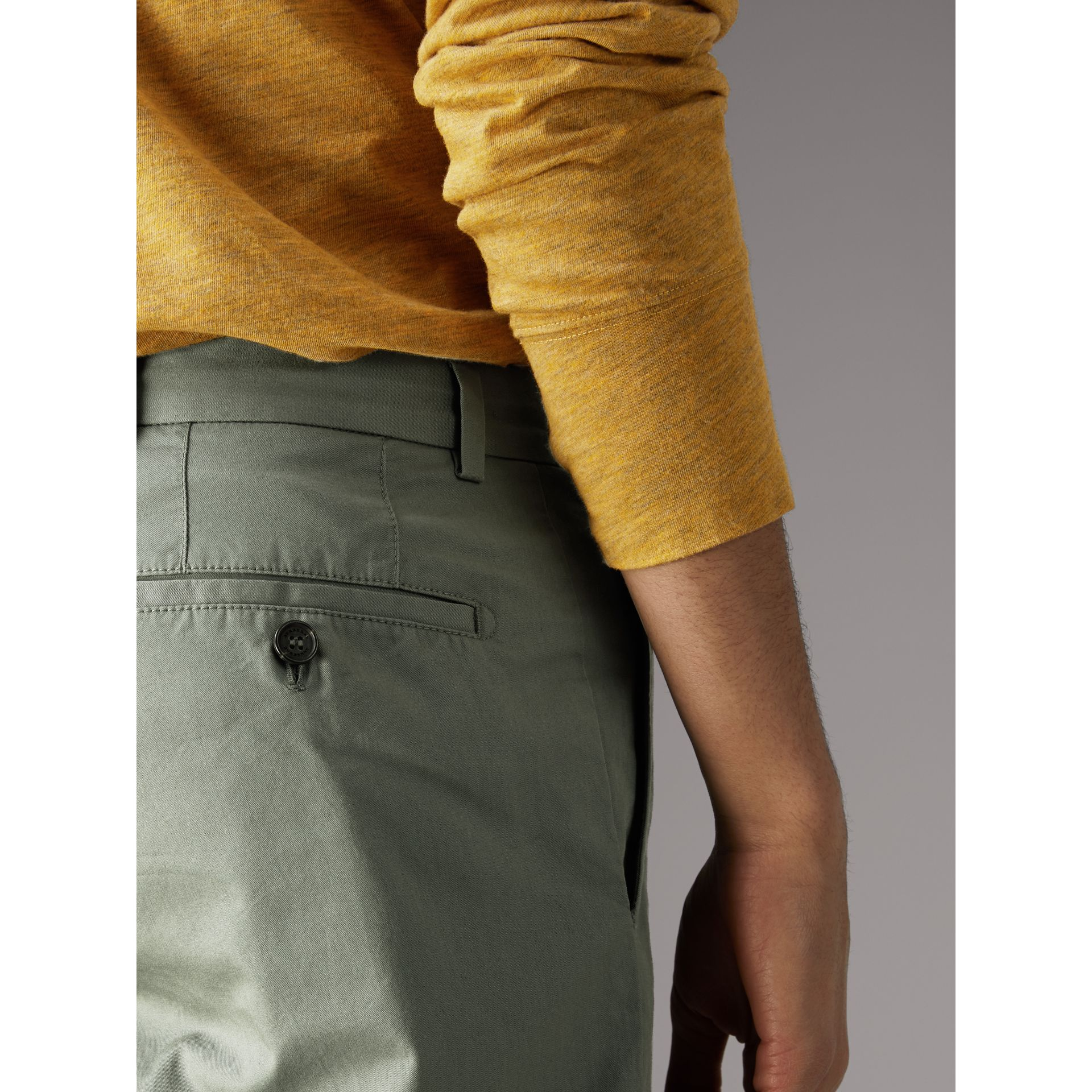 Slim Fit Cotton Chinos in Grey Blue - Men | Burberry - gallery image 1