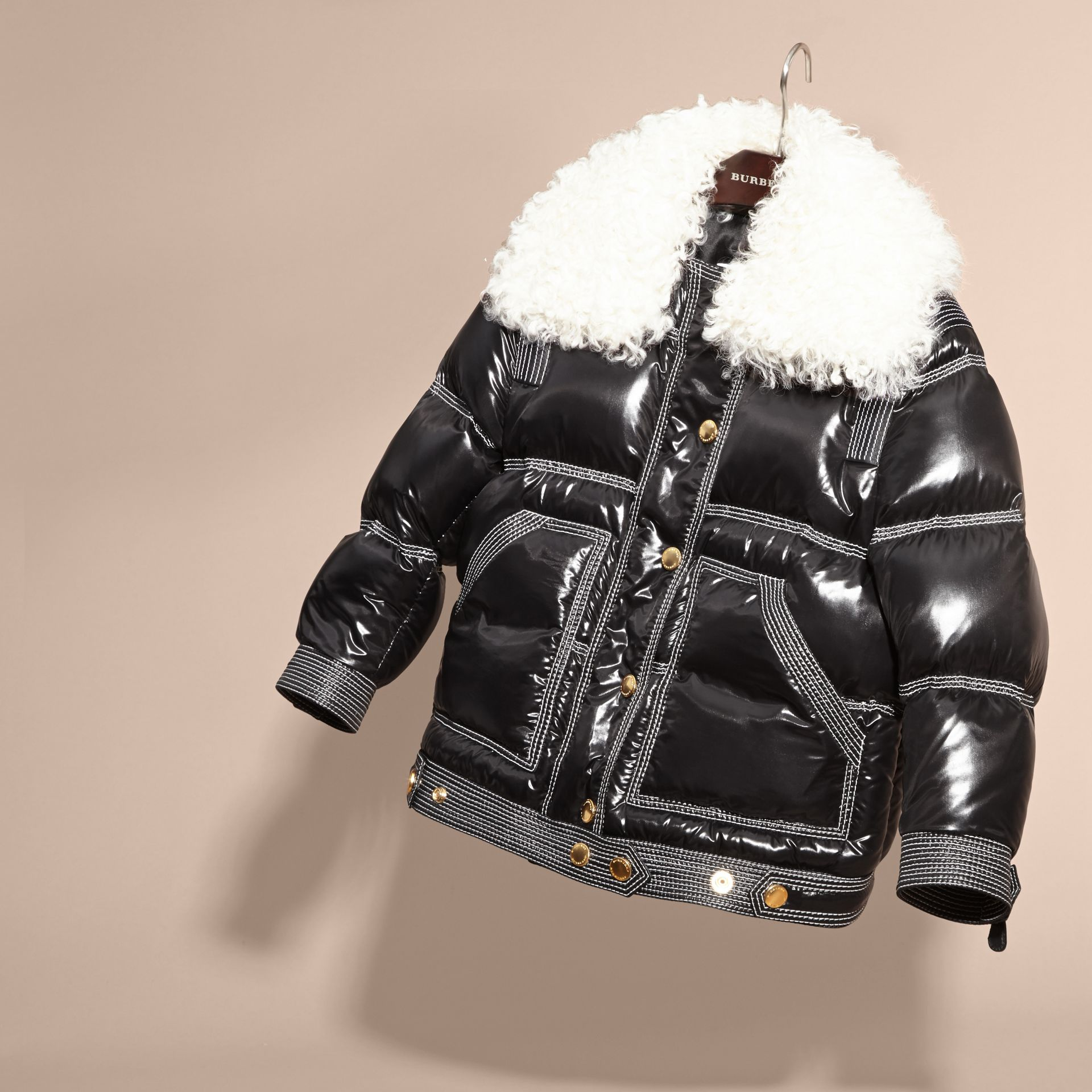 Black Lightweight Down-filled Puffer Jacket with Shearling Collar - gallery image 3