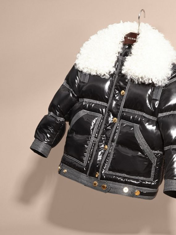 Black Lightweight Down-filled Puffer Jacket with Shearling Collar - cell image 2