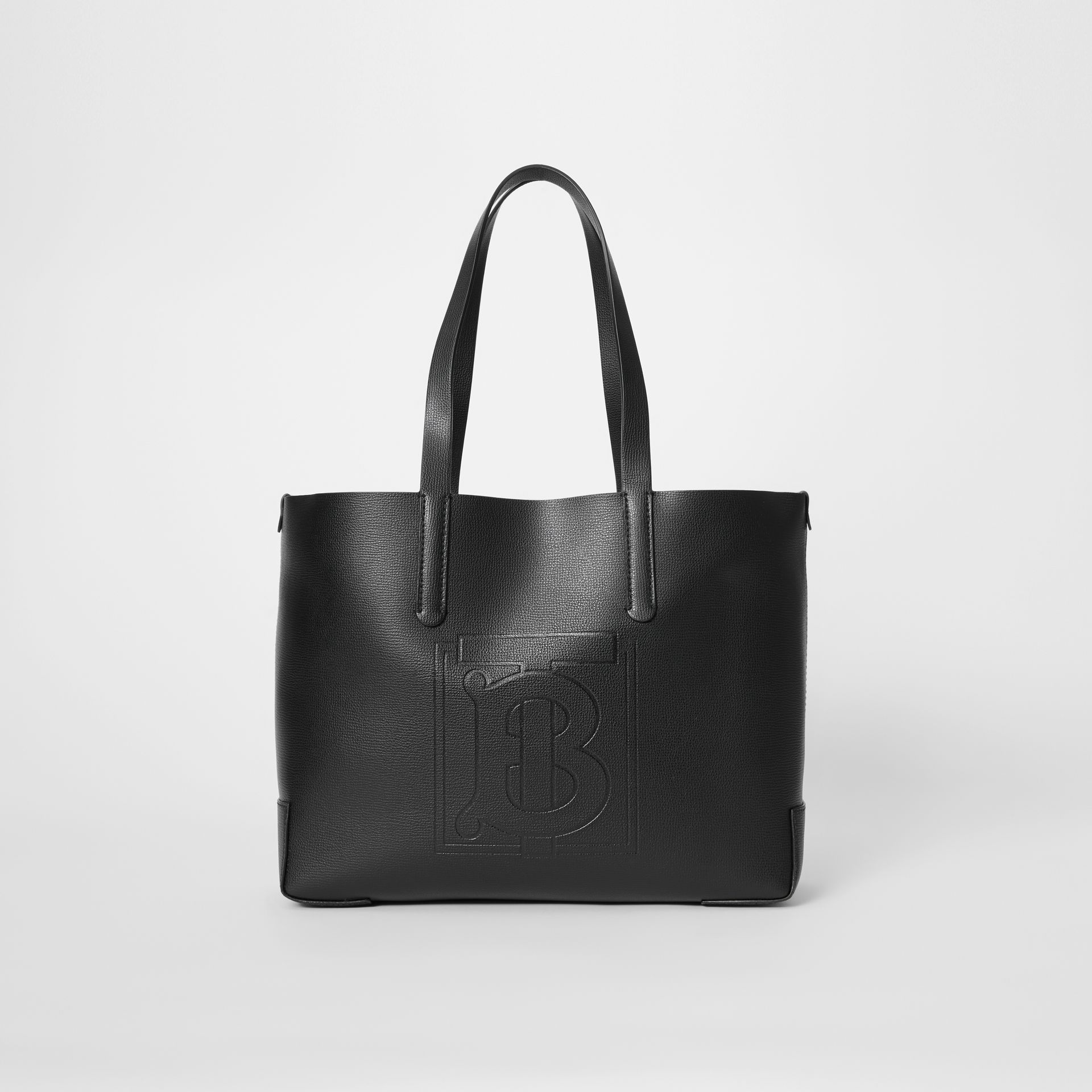 Embossed Monogram Motif Leather Tote in Black - Women | Burberry - gallery image 0