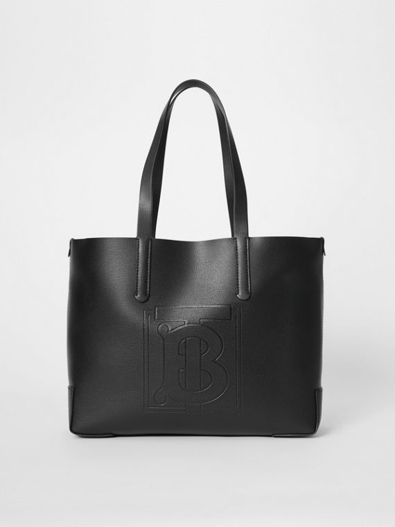 Embossed Monogram Motif Leather Tote in Black