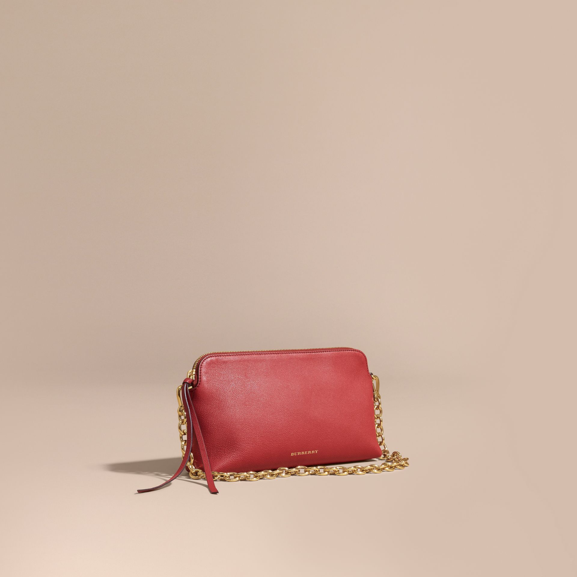 Grainy Leather Clutch Bag Russet Red - gallery image 1