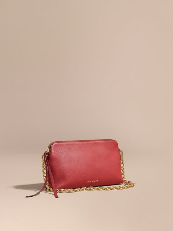 Grainy Leather Clutch Bag Russet Red