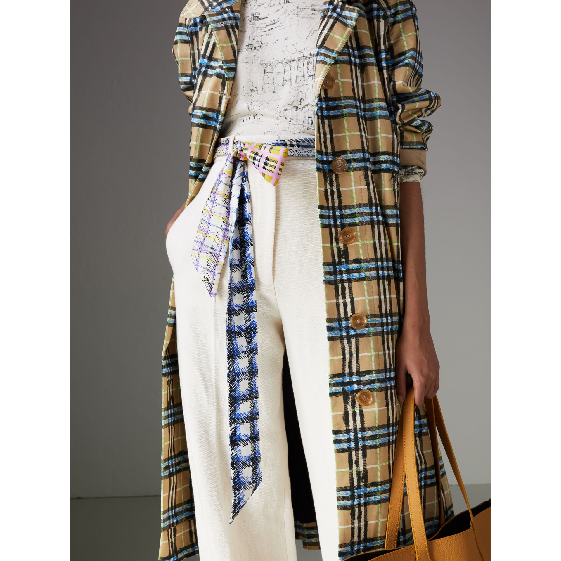 Scribble Check Silk Skinny Scarf in Light Azure - Women | Burberry - gallery image 4
