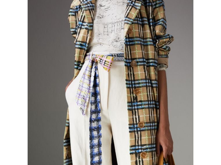 Scribble Check Silk Slim Scarf in Light Azure - Women | Burberry Hong Kong - cell image 4