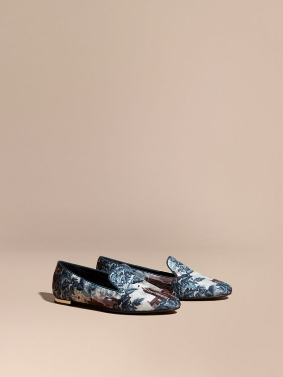 Castle Print Silk Cotton Loafers