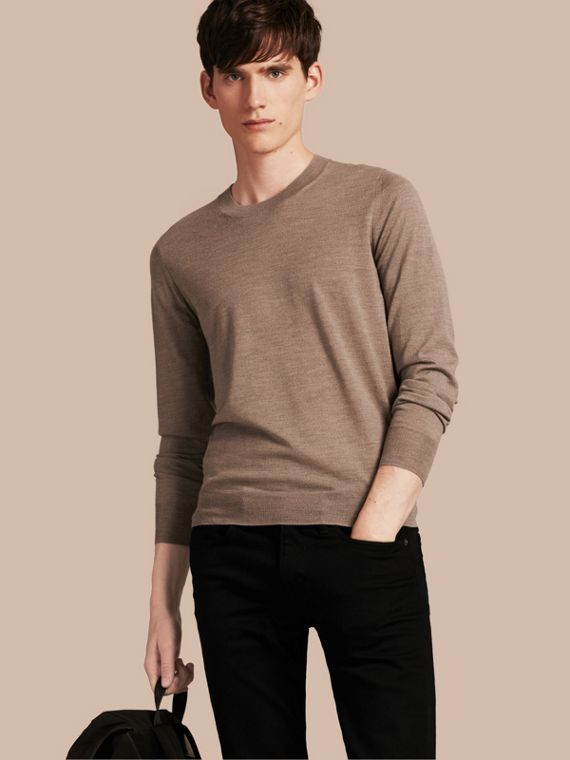 Crew Neck Merino Wool Sweater Taupe Grey Melange