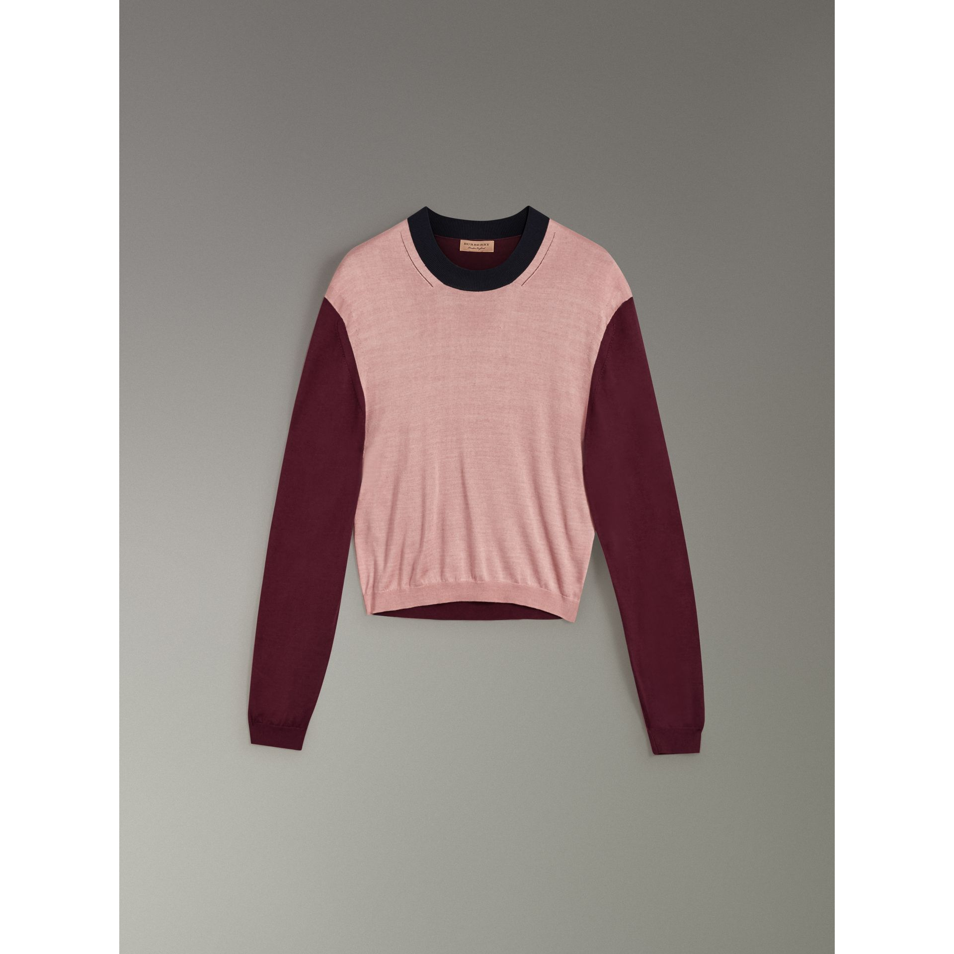 Colour Block Silk Cashmere Sweater in Pink Apricot - Women | Burberry United Kingdom - gallery image 3