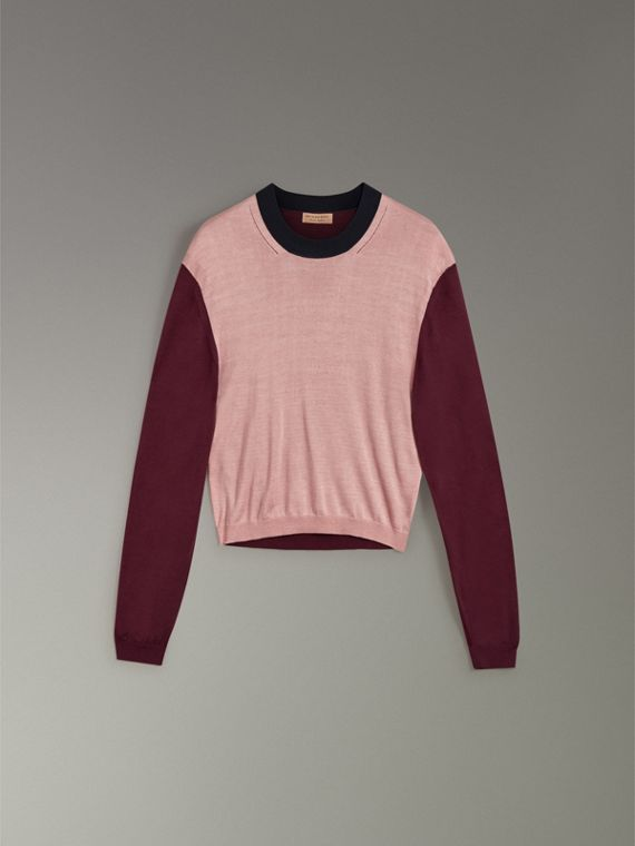 Colour Block Silk Cashmere Sweater in Pink Apricot - Women | Burberry Hong Kong - cell image 3