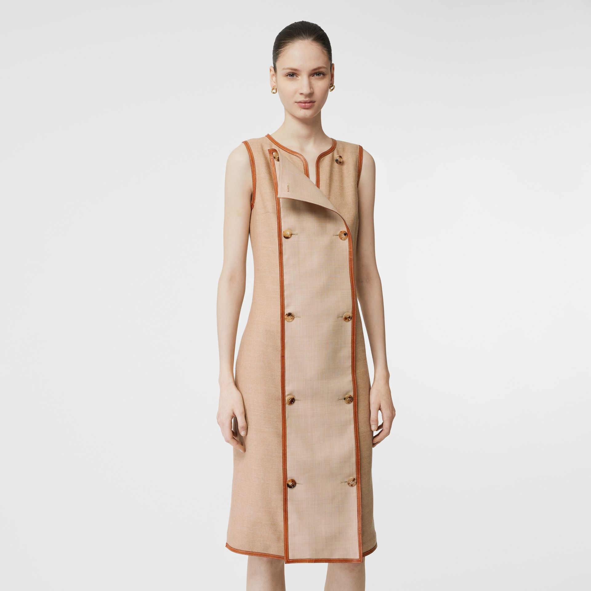 Button Panel Detail Wool Blend Shift Dress in Biscuit - Women | Burberry - gallery image 5