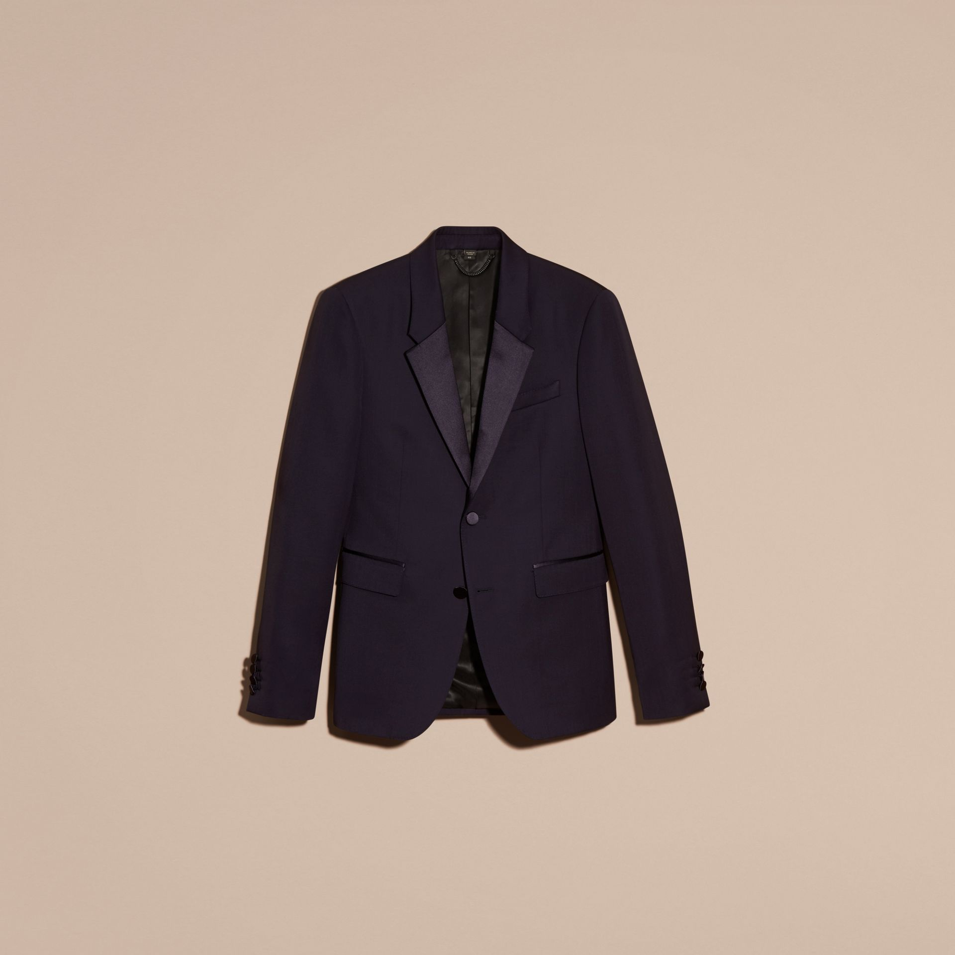 Dark navy Slim Fit Wool Tuxedo Jacket - gallery image 4
