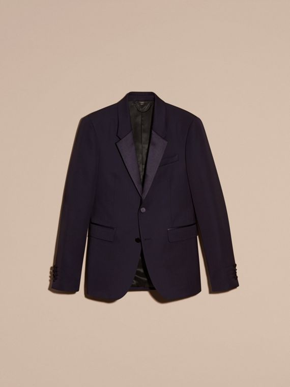 Dark navy Slim Fit Wool Tuxedo Jacket - cell image 3