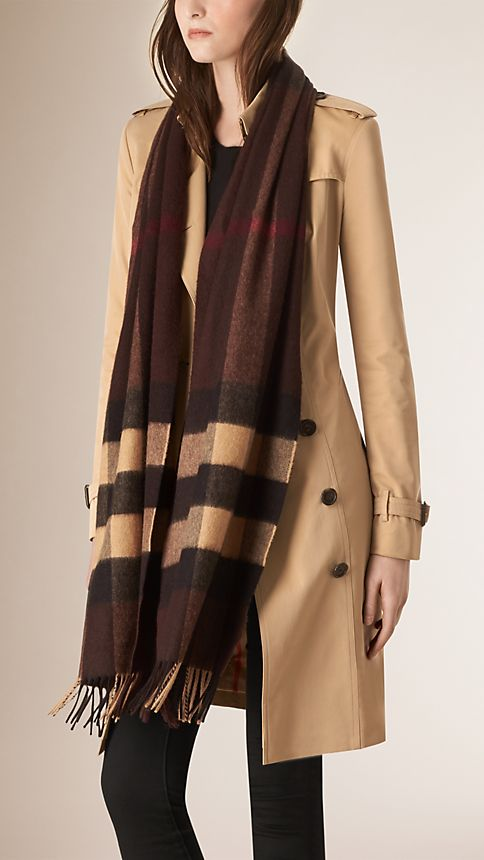 Dark chestnut brown check Giant Exploded Check Cashmere Scarf - Image 2