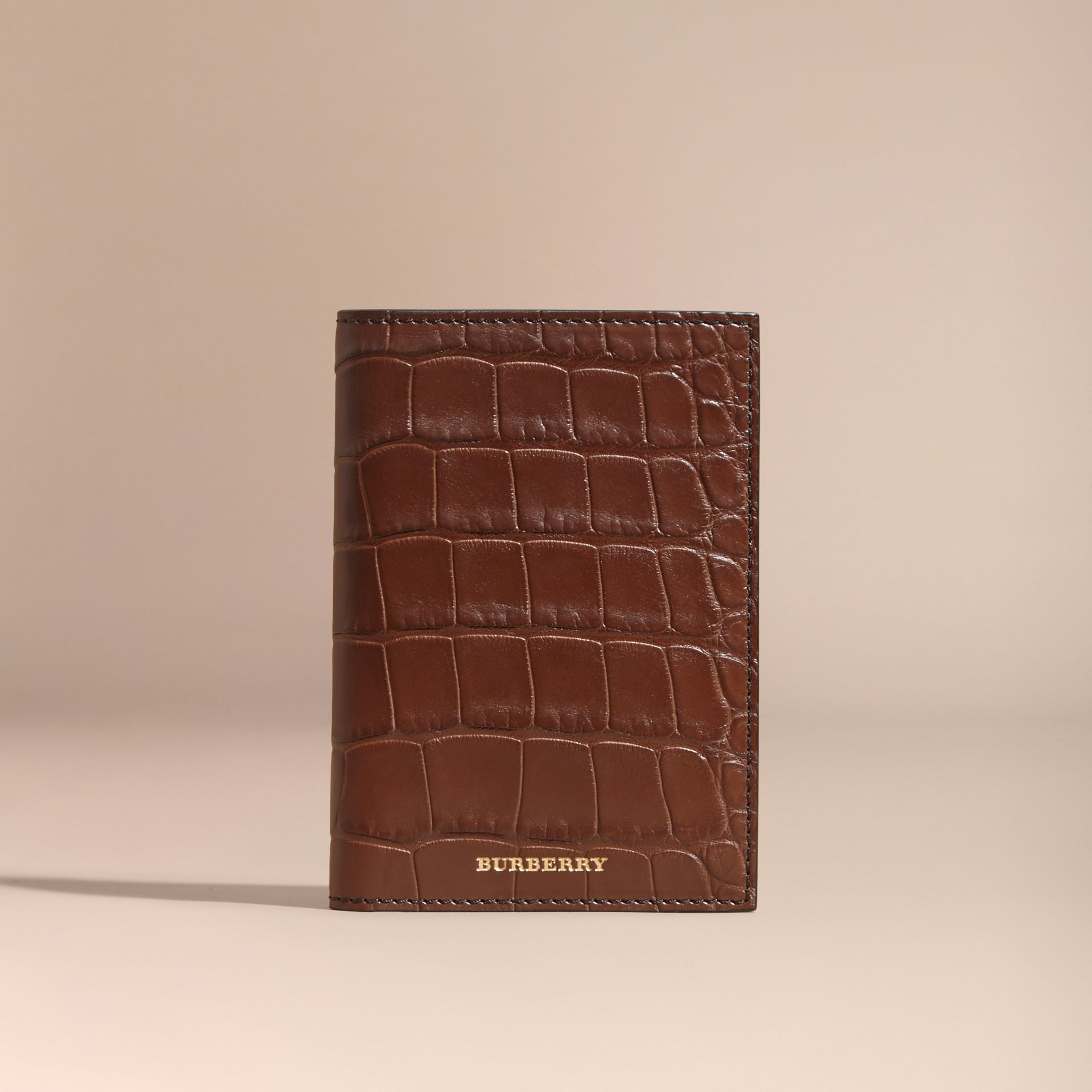 Alligator Passport Holder in Flax Brown | Burberry - gallery image 5