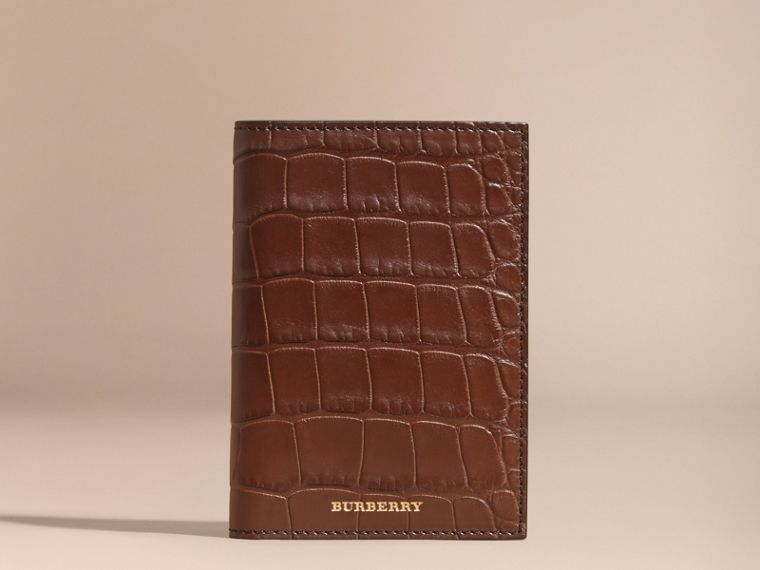 Alligator Passport Holder in Flax Brown | Burberry - cell image 4