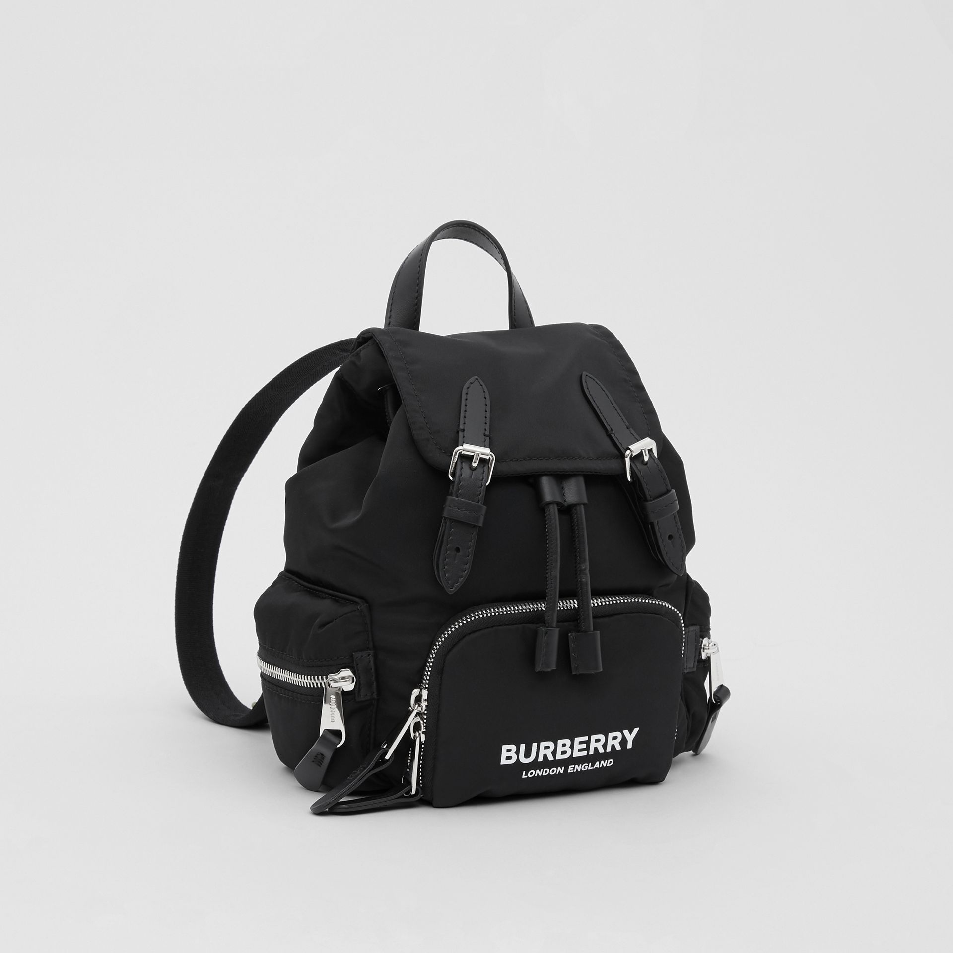 The Small Rucksack in Logo Print ECONYL® in Black - Women | Burberry Canada - gallery image 6