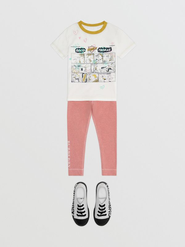 Comic Strip Print Cotton T-shirt in Light Stone - Girl | Burberry - cell image 2