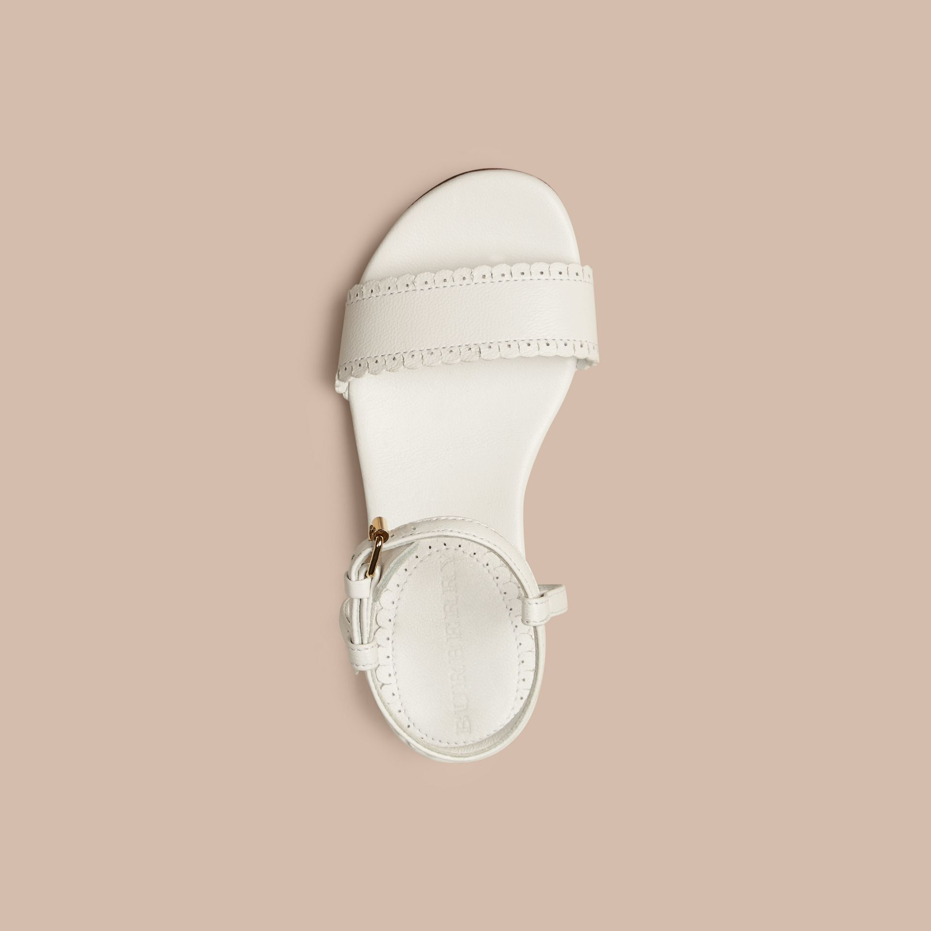 Optic white Scallop Trim Leather Sandals - gallery image 2