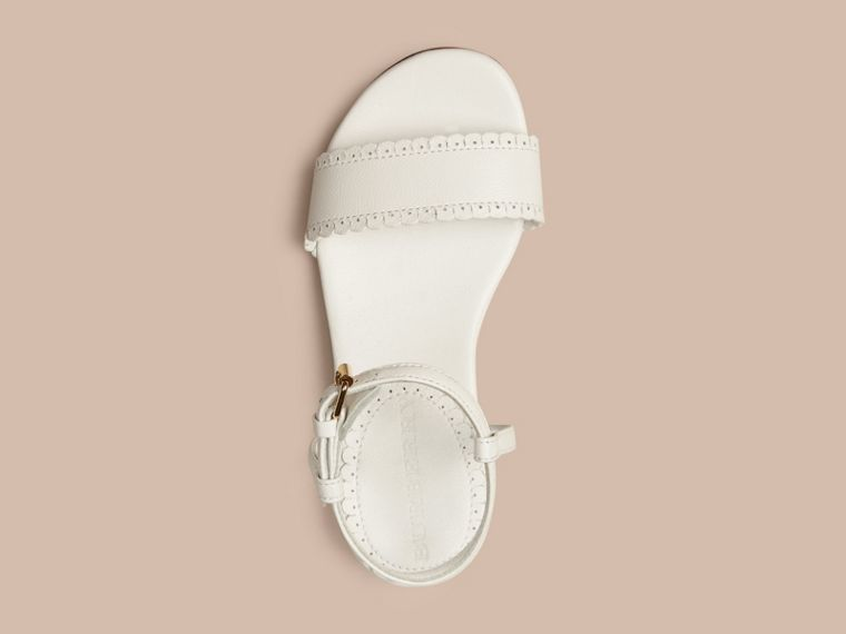 Optic white Scallop Trim Leather Sandals - cell image 1