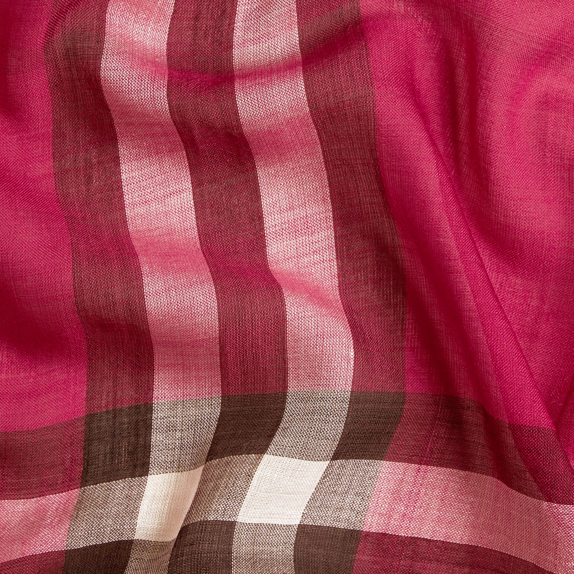 Lightweight Check Wool and Silk Scarf in Fuchsia Pink - gallery image 2