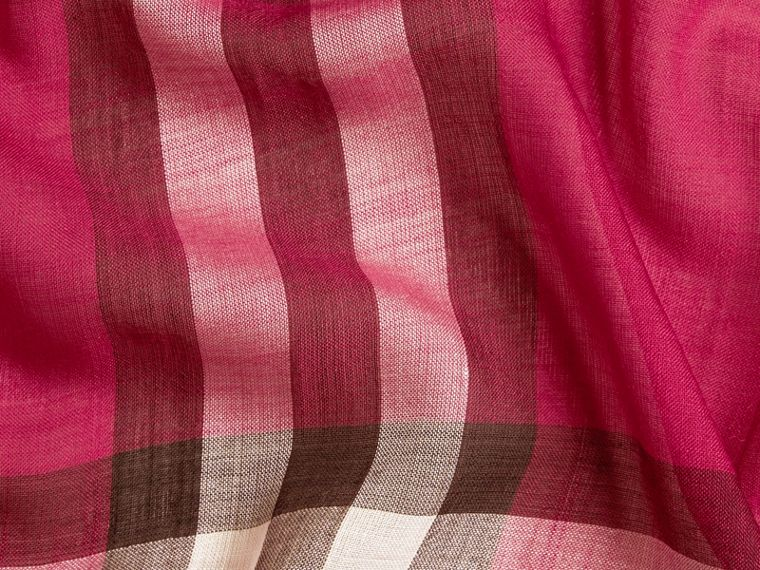 Lightweight Check Wool and Silk Scarf in Fuchsia Pink - cell image 1