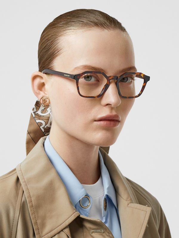 Geometric Optical Frames in Tortoiseshell - Women | Burberry Singapore - cell image 2