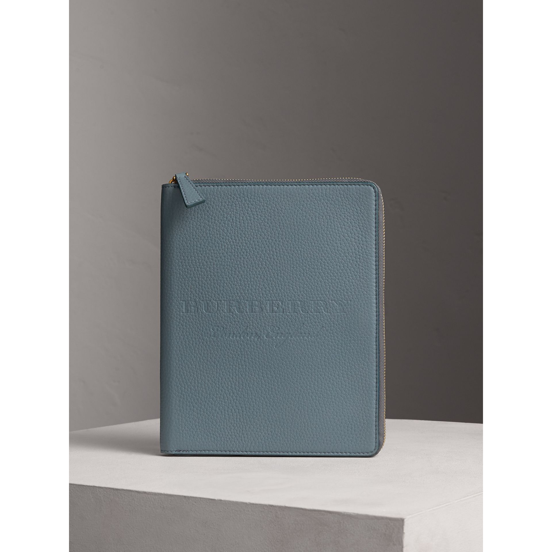 Embossed Leather Ziparound A5 Notebook Case in Dusty Teal Blue | Burberry - gallery image 4