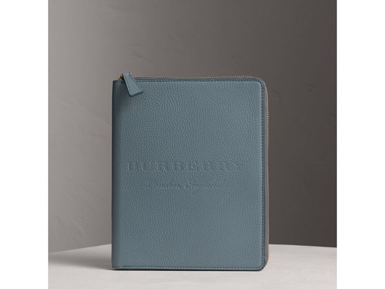 Embossed Leather Ziparound A5 Notebook Case in Dusty Teal Blue | Burberry - cell image 4