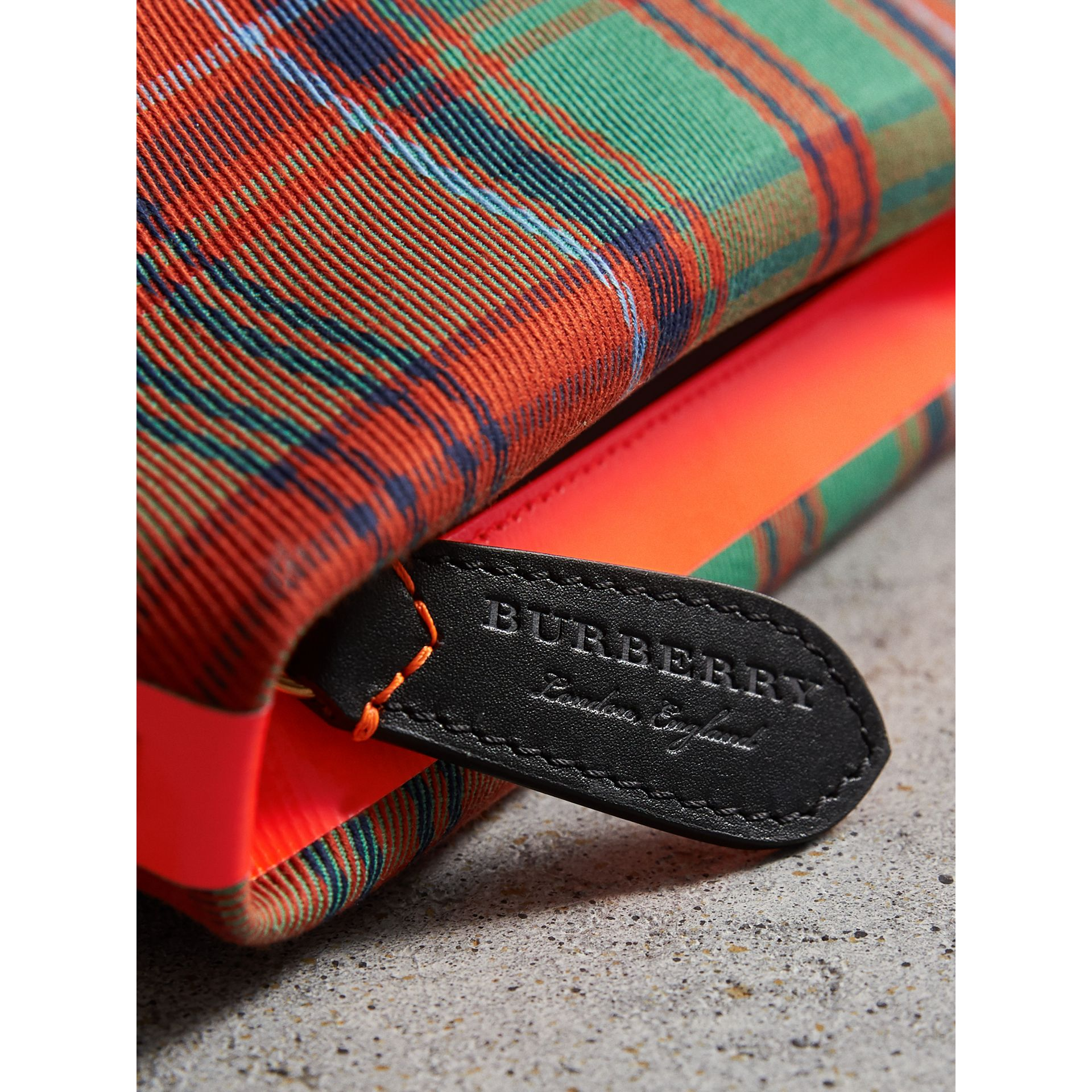 Tartan Cotton Clutch in Orange Red/vibrant Red | Burberry - gallery image 1