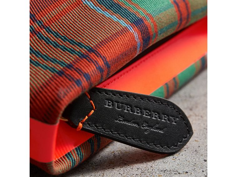 Tartan Cotton Clutch in Orange Red/vibrant Red | Burberry - cell image 1