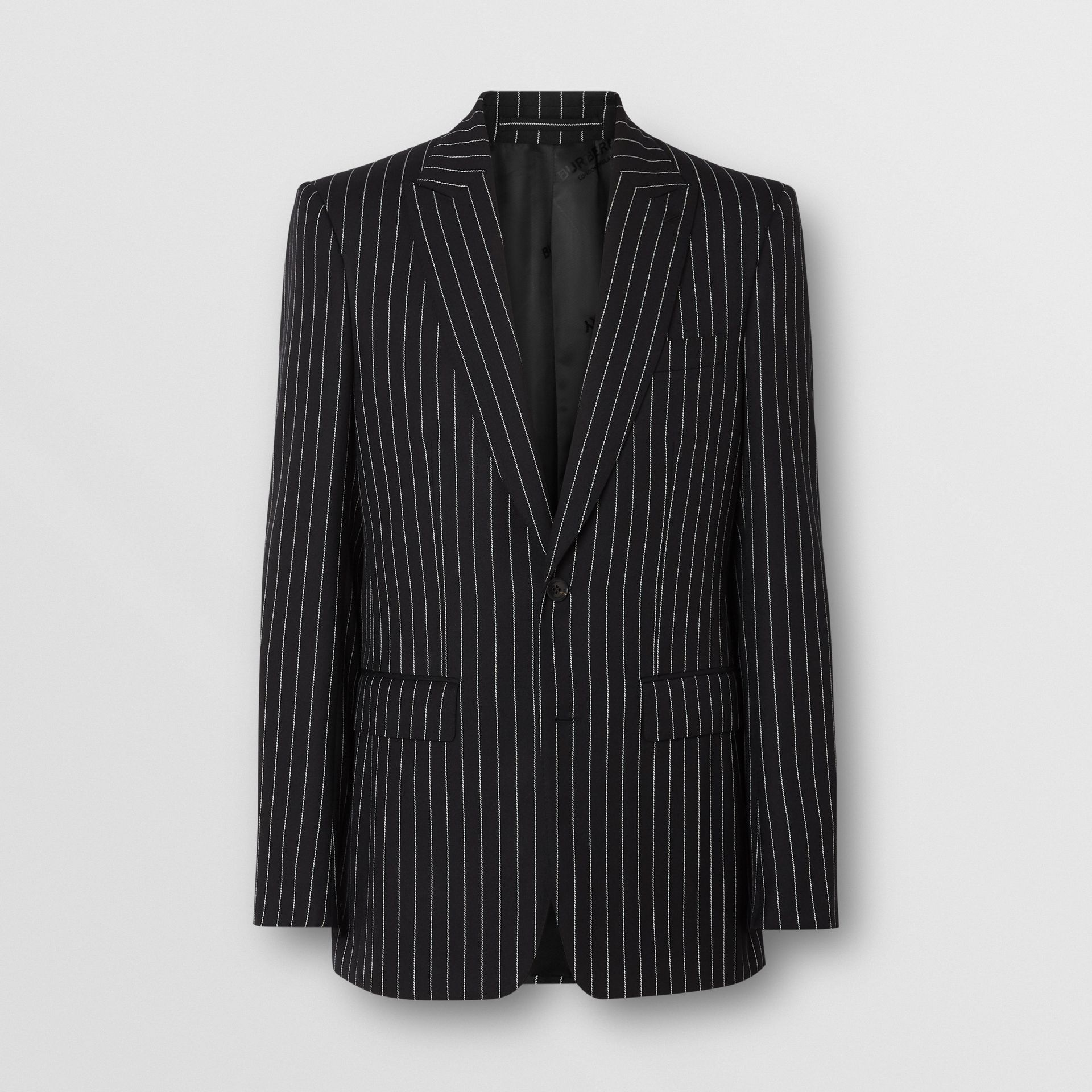 English Fit Pinstriped Wool Suit in Black - Men | Burberry Hong Kong - gallery image 3