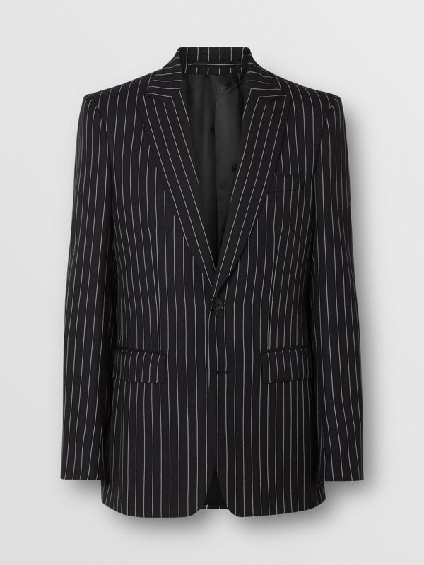 English Fit Pinstriped Wool Suit in Black - Men | Burberry Singapore - cell image 3