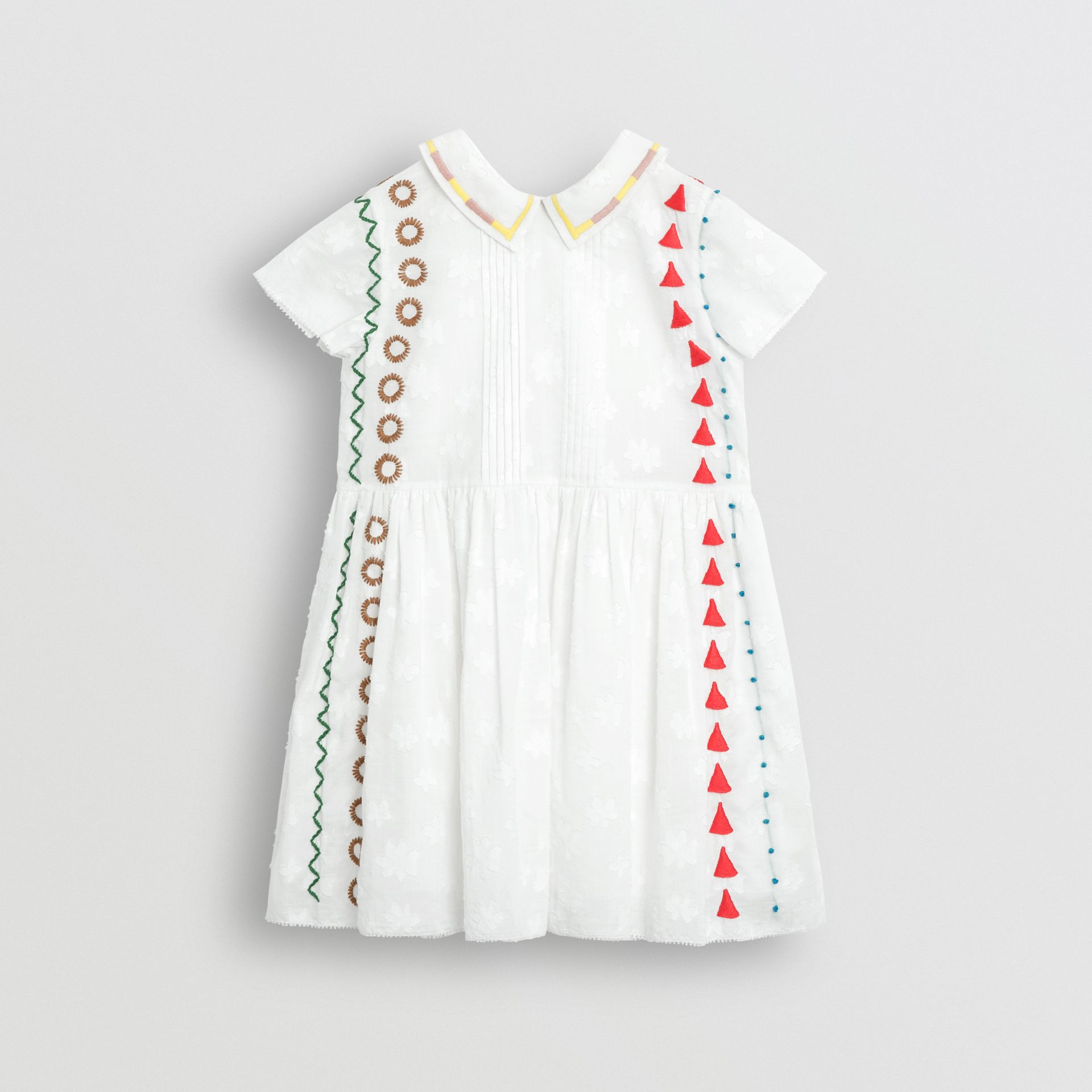 Peter Pan Collar Embroidered Cotton Dress in White | Burberry United Kingdom - gallery image 0