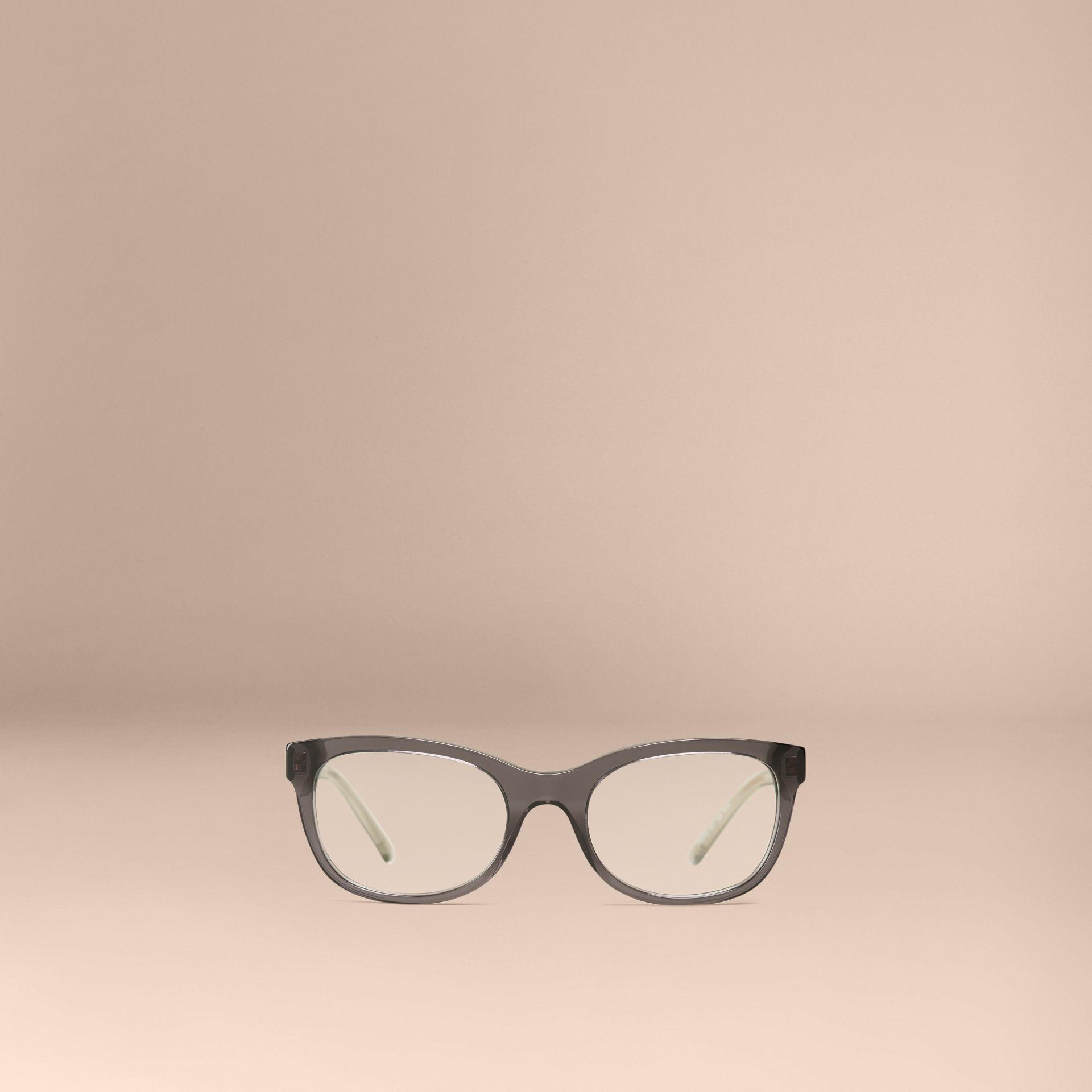 Check Detail Oval Optical Frames Dark Grey - gallery image 3