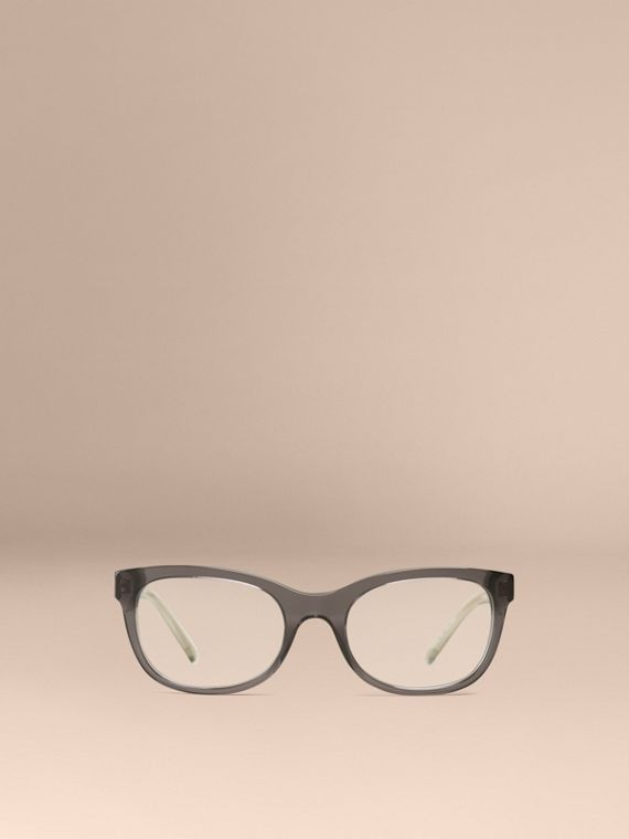 Dark grey Check Detail Oval Optical Frames Dark Grey - cell image 2