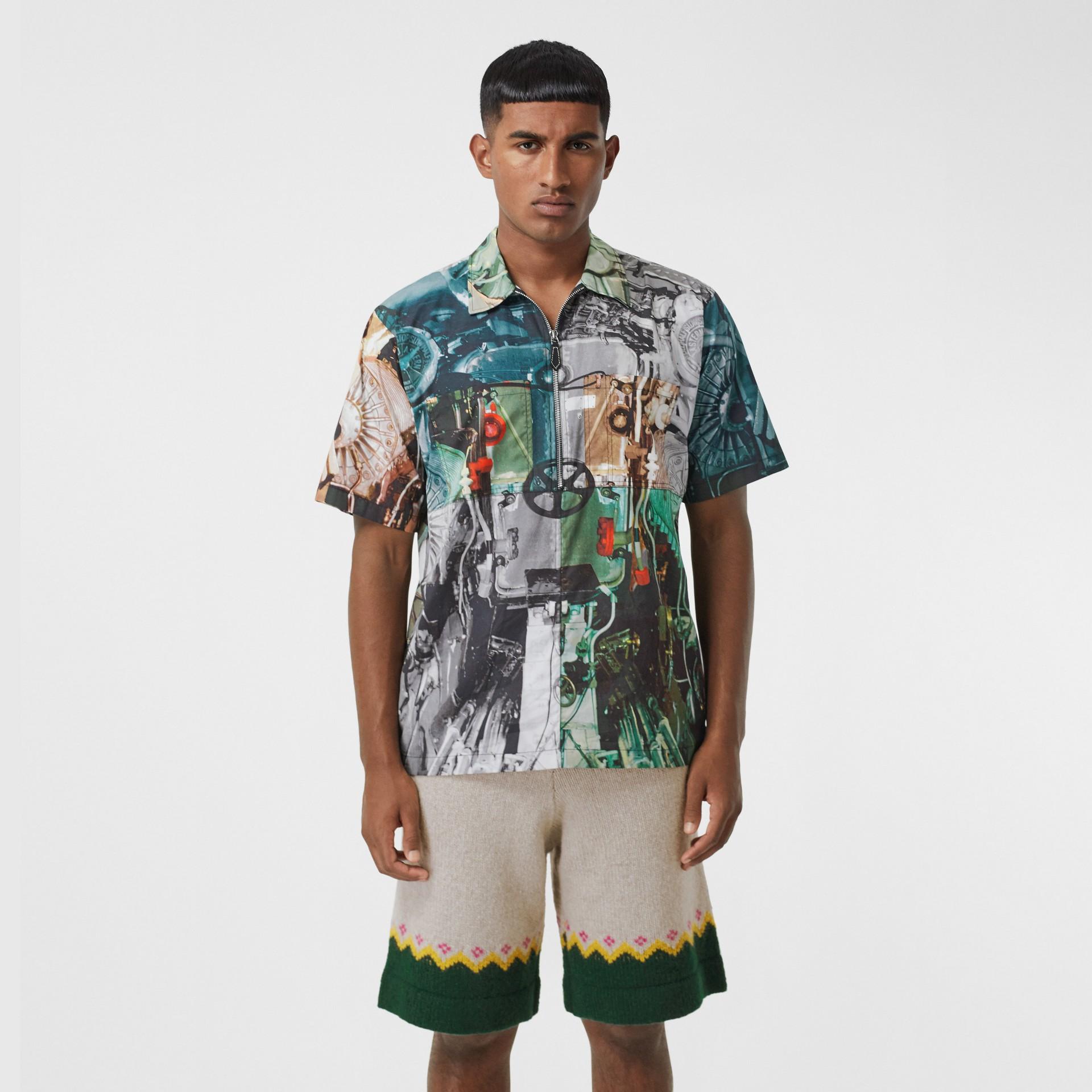 Short-sleeve Submarine Print Cotton Shirt in Multicolour - Men | Burberry United Kingdom - gallery image 4