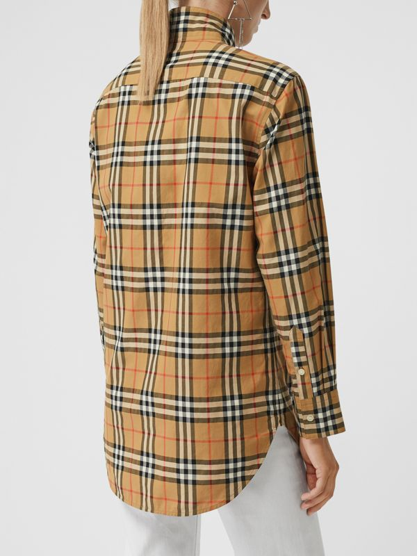 Stand Collar Vintage Check Cotton Shirt in Antique Yellow - Women | Burberry - cell image 2