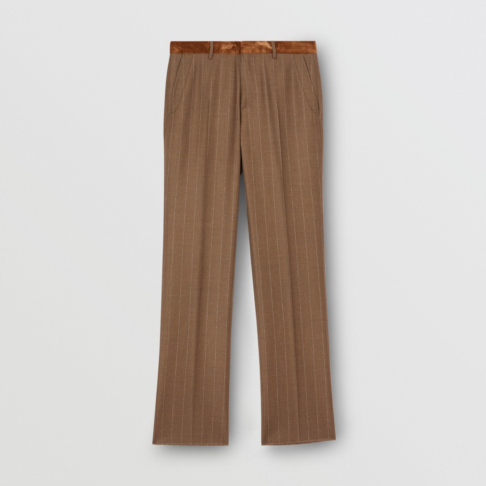 Classic Fit Velvet Trim Wool Cashmere Trousers in Dark Tan - Men | Burberry - gallery image 3