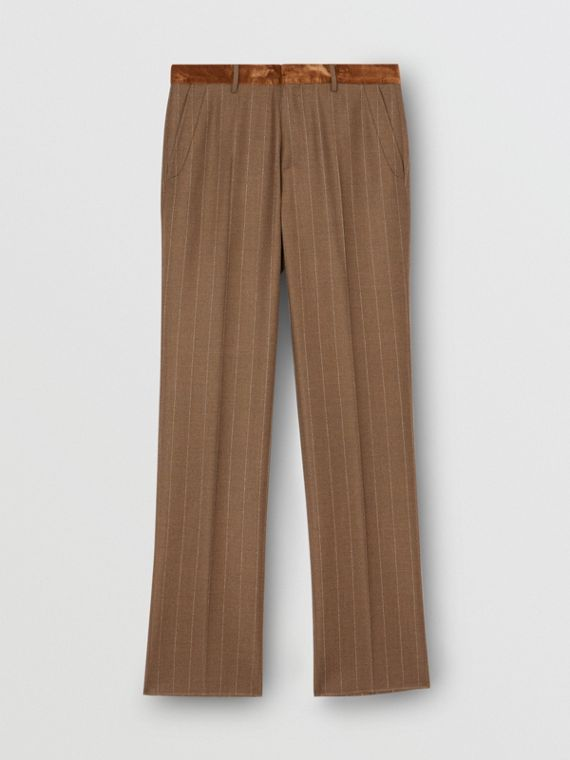 Classic Fit Velvet Trim Wool Cashmere Trousers in Dark Tan