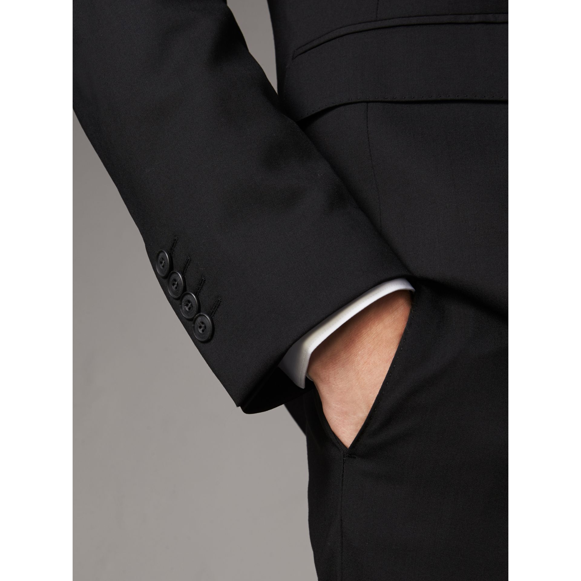 Modern Fit Wool Part-canvas Suit in Black - Men | Burberry Canada - gallery image 5