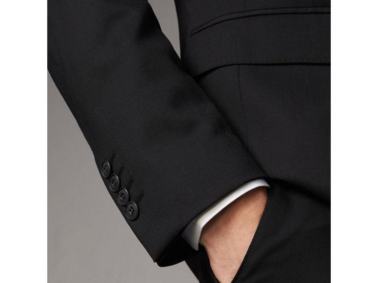Modern Fit Wool Part-canvas Suit in Black - Men | Burberry United Kingdom - cell image 4