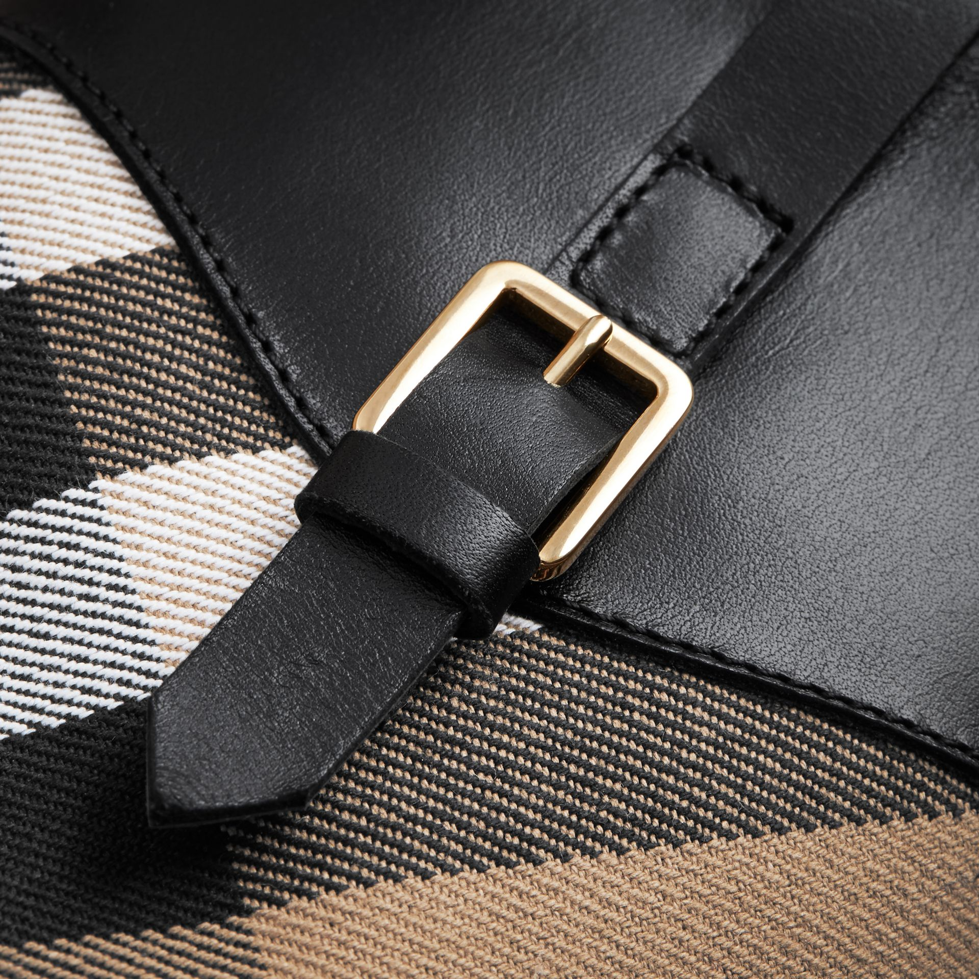 House Check and Leather Boots in Hc / Black | Burberry - gallery image 2
