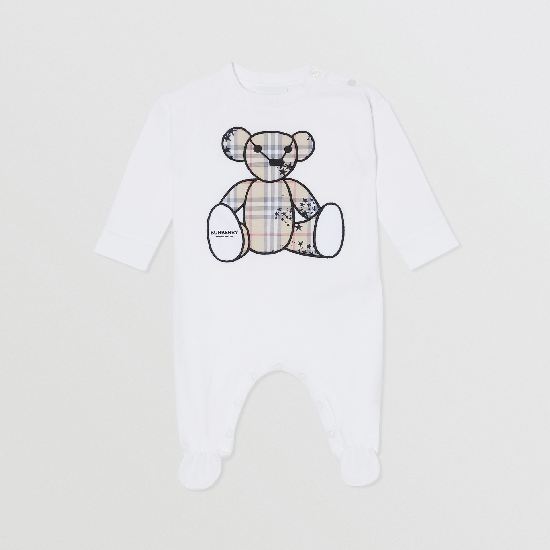 Thomas Bear Appliqué Cotton All-in-One in White - Children | Burberry Hong Kong S.A.R - gallery image 0
