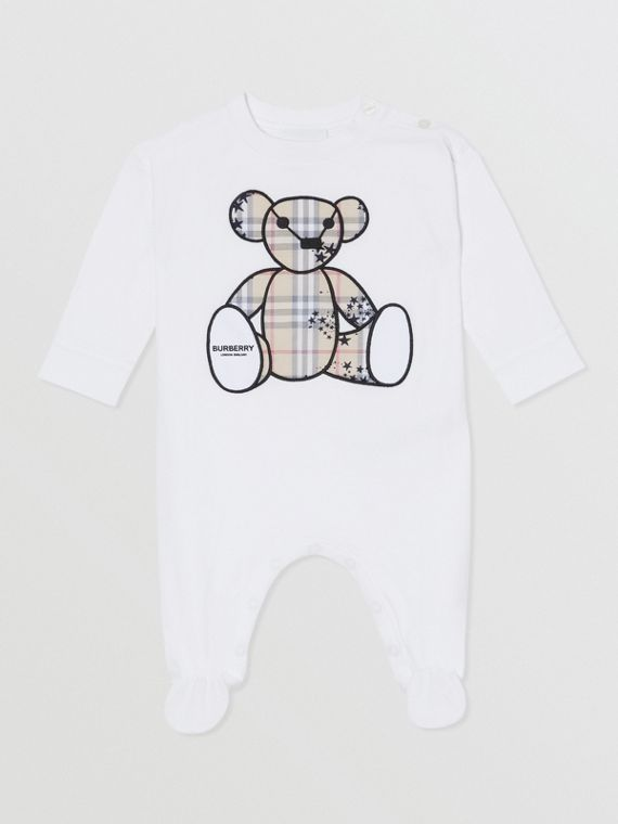 Thomas Bear Appliqué Cotton All-in-One in White