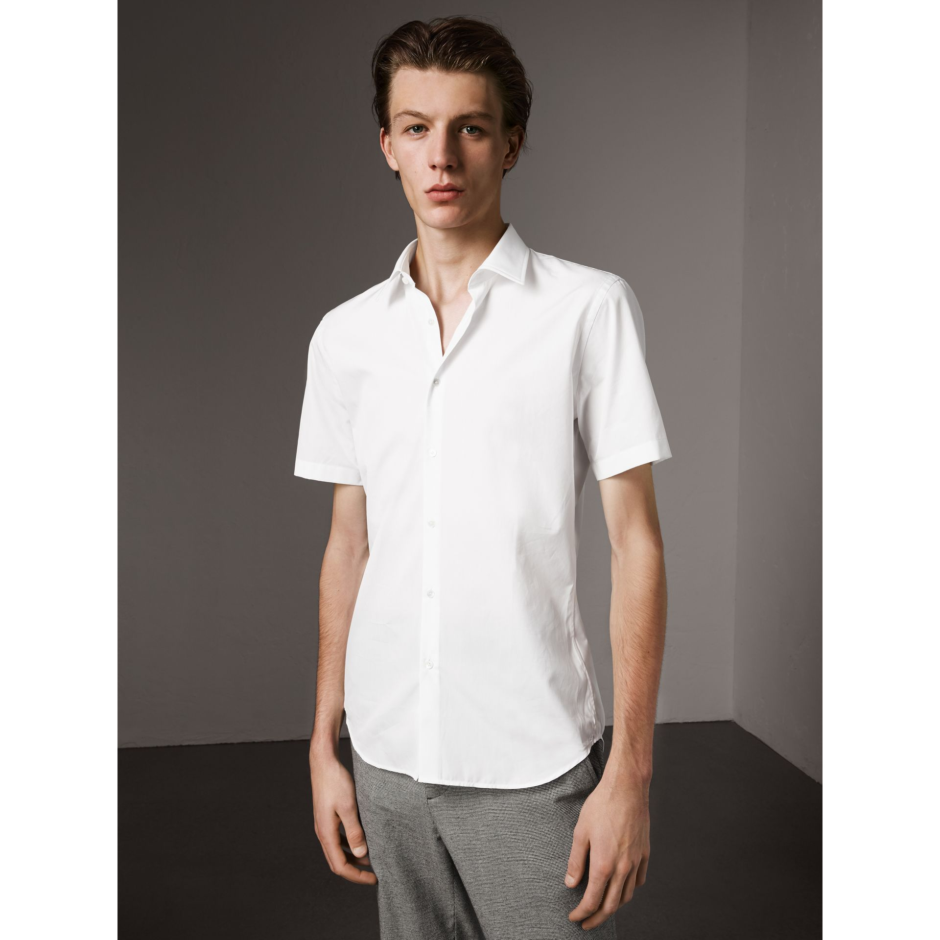 Short Sleeve Cotton Poplin Shirt in White - Men | Burberry - gallery image 1