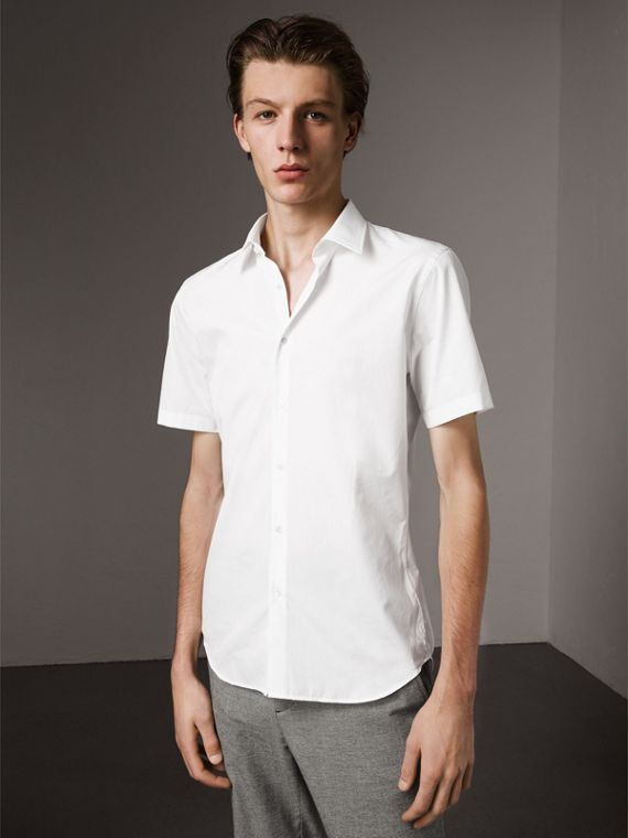 Short Sleeve Cotton Poplin Shirt in White