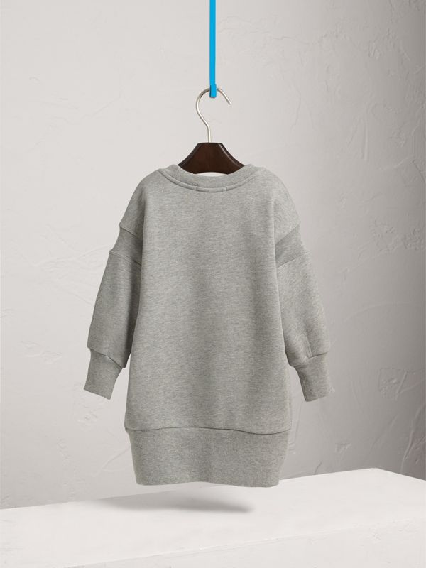 Embroidered Cotton Sweatshirt Dress in Grey Melange | Burberry - cell image 3