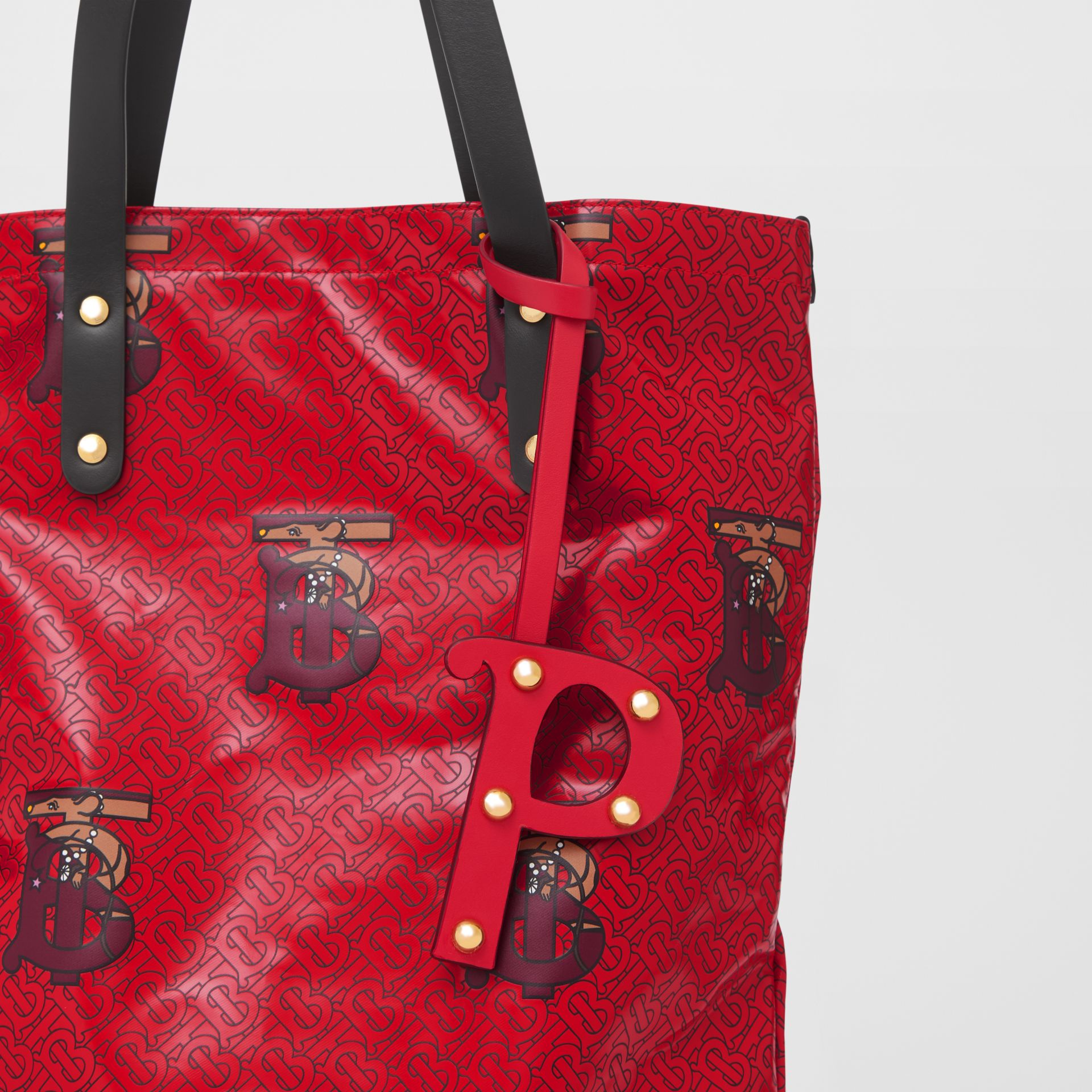 'P' Studded Leather Alphabet Charm in Red/light Gold - Women | Burberry Hong Kong S.A.R - gallery image 3