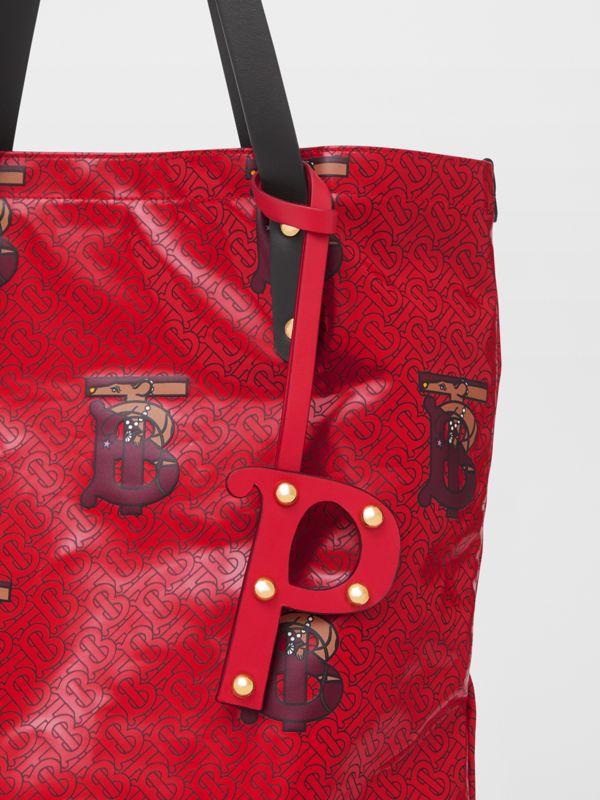 'P' Studded Leather Alphabet Charm in Red/light Gold - Women | Burberry Hong Kong S.A.R - cell image 3